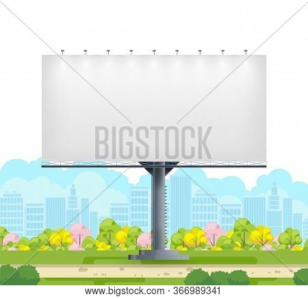 Billboard Blank. City Outdoor Blank Banner Large Format For Advertise Media. Outdoor Advertising Pos