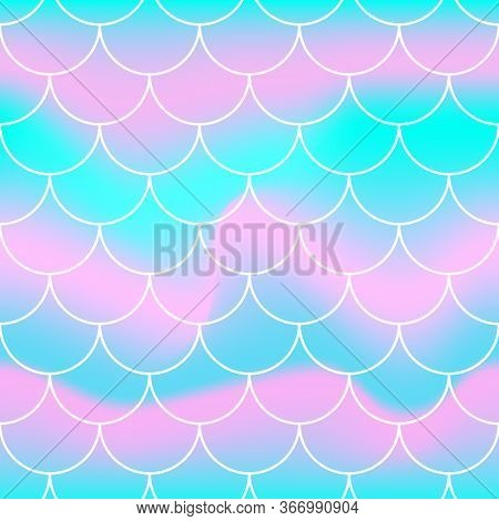 Seamless Pattern. Rainbow Background. Mermaid Scales. Kawaii Colorful Backdrop. Holographic Print. B