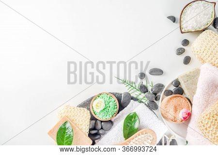 Bodycare Organic Cosmetics. Spa Setting With Basic Hygiene Treatment - Sea Salt, Washcloth And Natur