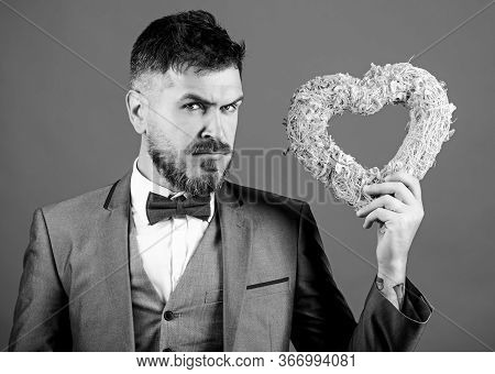 Macho Looking For Girlfriend. Happy Valentines Day. Hipster Hold Heart Symbol Love. Man Formal Suit
