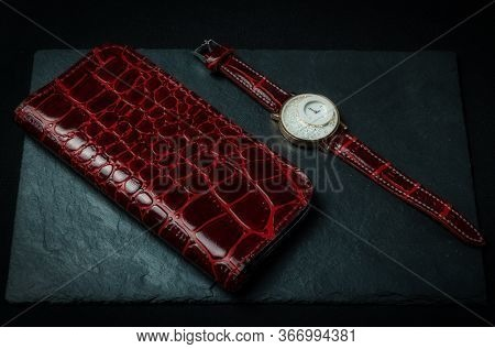 Ladies Wristwatch With A Handmade Strap Made Of Genuine Red Crocodile Leather With A Red Leather Wal