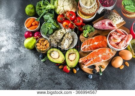 Pescetarian Diet Plan Ingredients, Healthy Balanced Grocery Food, Fresh Fruit, Berries, Fish And She