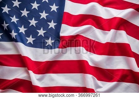 American Flag Waving. Flag Of America National On Canvas Texture Background Banner For Independence