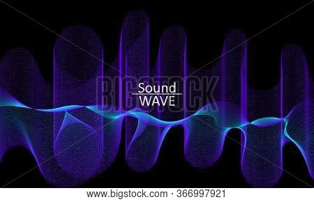 Sound Wave. Abstract 3d Shape. Flow Design. Modern Fluid Background. Liquid Wave. Flow Shape. Liquid