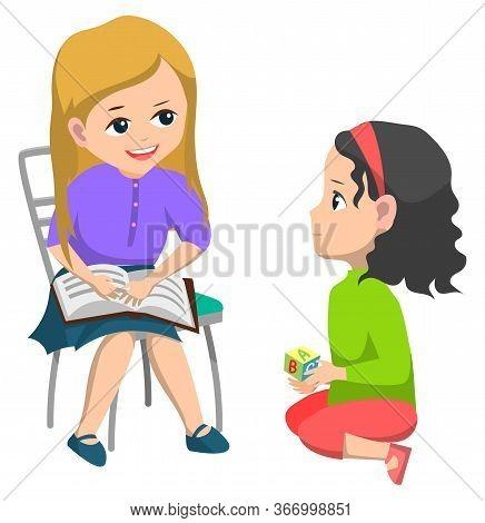 Classmates Vector, Isolated Kids Talking. Children In Kindergarten, Smart Child Holding Book Sitting