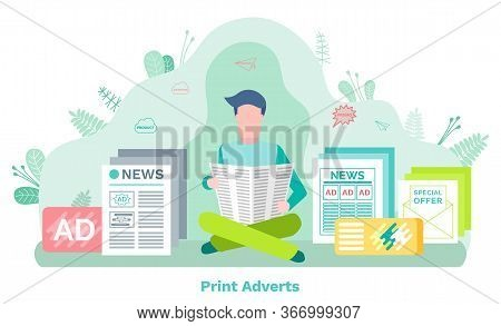 Man Character Reading Newspaper, Print Adverts. Daily News, Advertising And Promo Product, Template