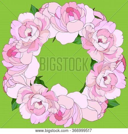 Wedding Wreath, Light Pink Pions, Vector Illustration
