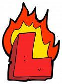 cartoon burning letter l poster
