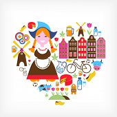 Heart with Netherlands vector icons poster