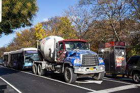 New York, United States - November 19, 2016: A Concrete Mixer Truck In The Streets Of Manhattan.