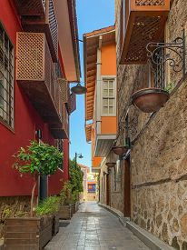 Narrow Alley Street With Ottoman Style Historical Building In Old Town Of Antalya Kaleici, Turkey. V