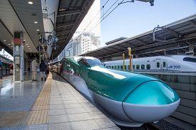 Tokyo, Japan - December 23, 2014: A Shinkansen Train Standing At A Platform Before Departure.