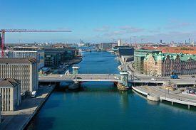 Copenhagen, Denmark - May 07, 2020: Aerial Drone View Of Knippel Bridge