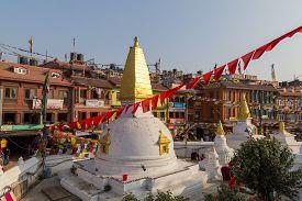 Kathmandu, Nepal - December 03, 2014: Small Temple At The Historic Boudhanath Stupa Complex