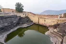 Jaipur, India - December 12, 2019: The Historic Step Well Inside Nahargarh Fort.