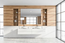 Interior Of Modern Bathroom With Wooden And White Brick Walls, Concrete Floor, Double Sink Standing