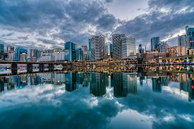 Sunrise At Darling Harbour Bay, Business And Recreational Center, In Sydney, Australia