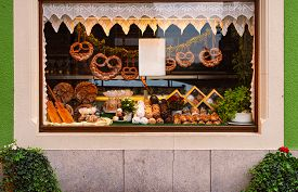 Shop Window With Traditional Bakery In Old City Street With Traditional Architecture Of Rothenburg O