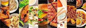Food Collage Panorama, Design Template. Various Tasty Dishes, Including A Burger, A Pizza, Seafood P