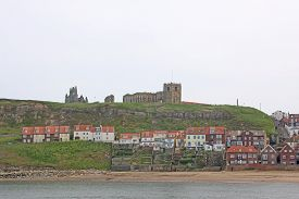 Whitby Abbey Above The Harbour In Yorkshire