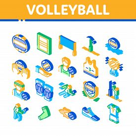 Volleyball Sport Game Collection Icons Set Vector. Volleyball Ball In Water And Grid, Athlete Equipm