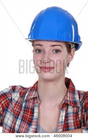 A nervous-looking tradeswoman