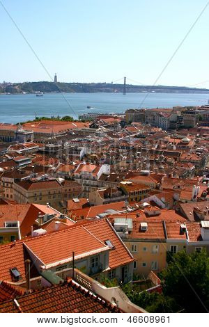View On Lisbon And Bridge, Portugal