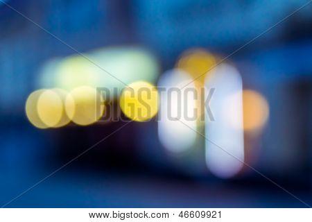 Blur Of A Blue Cubic City Shapes