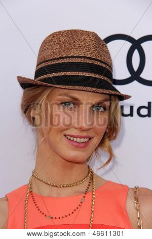 LOS ANGELES - JUN 8:  Angela Lindvall arrives at the 1st Annual Children Mending Hearts Style Sunday at the Private Residence on June 8, 2013 in Beverly Hills, CA