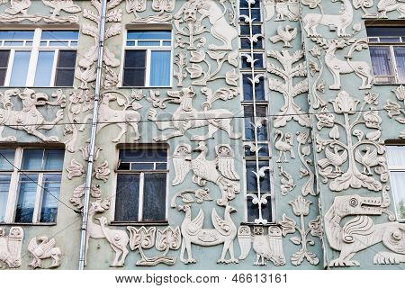 Decorated Old House In Moscow, Russia