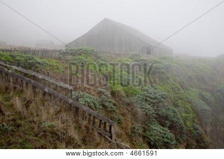 Rustic Ocean Side Barn At Cliffs Edge Near Sea Ranch, California