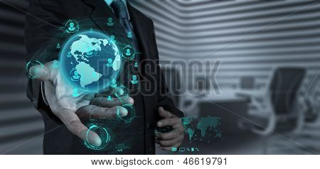 businessman working with new modern computer show social network structure poster