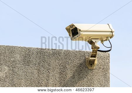 Security Camera On The Top Of Brown Building, CCTV Camera