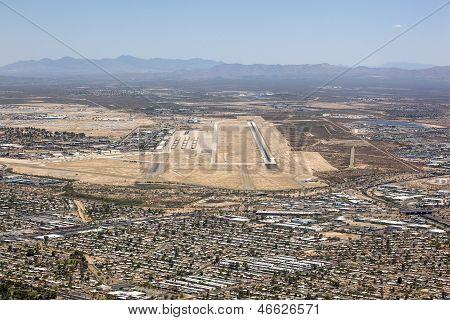Tucson, Arizona Aerial With Runway And Boneyard
