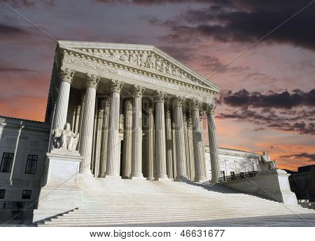 Dawn sky over the United States Supreme Court building in Washington DC.