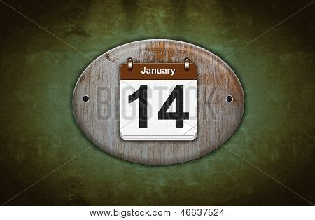 Old Wooden Calendar With January 14.