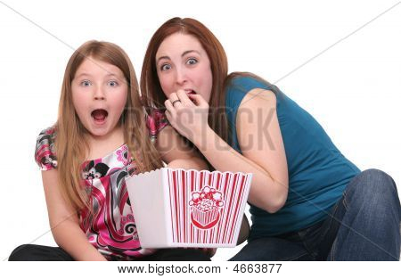 Sisters Eating Popcorn
