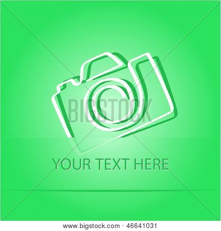 Camera. Paper sticker as bookmark. Vector illustration. Eps10.