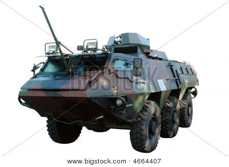 Army truck isolated on white. Clipping path included to remove or replace background poster