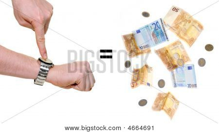 Time Is Money Isolated Over White Background