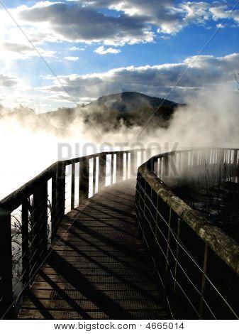 Bridge Over Geothermal Activity, New Zealand