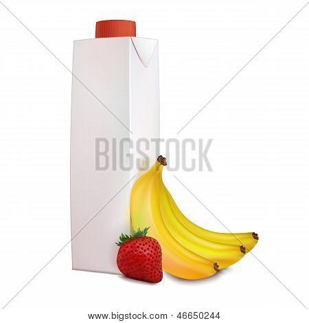 Банан, клубника, соки в картонной упаковке Tetra