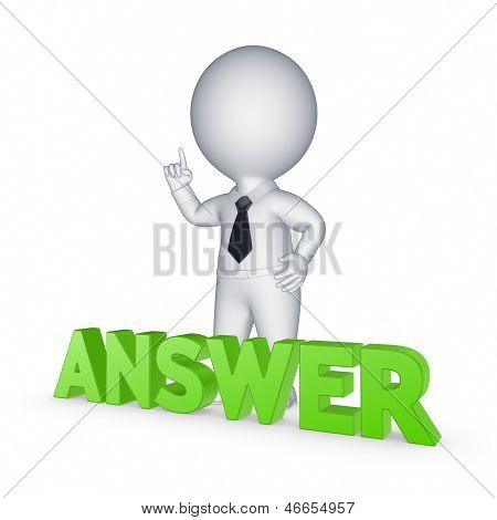 Small person and word ANSWER.Isolated on white.3d rendered. poster