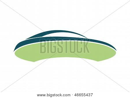 Green auto logo over white board