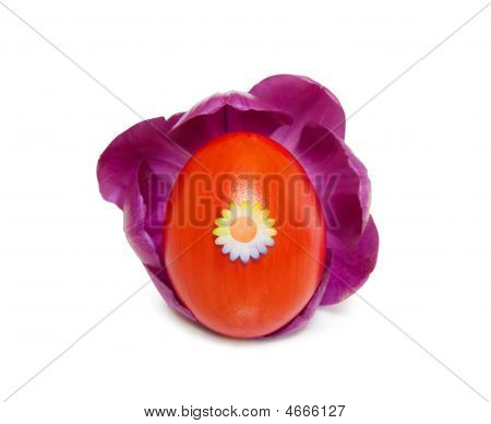 Easter Red Decorated Egg Inside A Purple Tulip On White