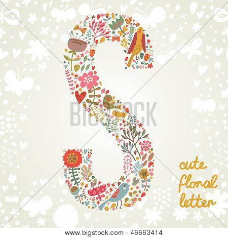 The letter S. Bright floral element of colorful alphabet made ??from birds, flowers, petals, hearts and twigs. Summer floral ABC element in vector