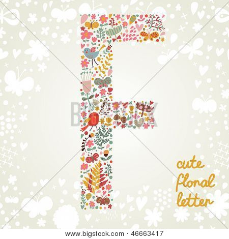 The letter F. Bright floral element of colorful alphabet made ??from birds, flowers, petals, hearts and twigs. Summer floral ABC element in vector