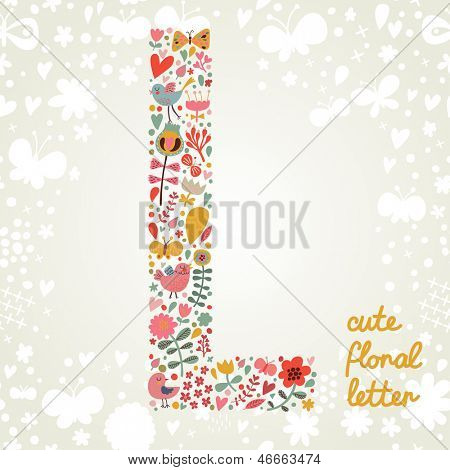 The letter L. Bright floral element of colorful alphabet made ??from birds, flowers, petals, hearts and twigs. Summer floral ABC element in vector