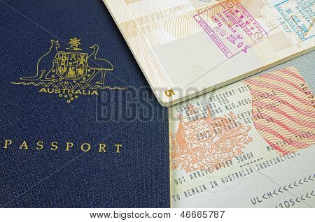 passport visa and customs stamp