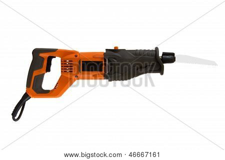 Reciprocating saw isolated on a white background. poster